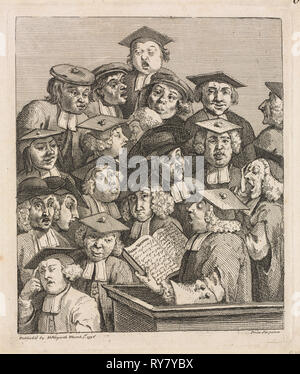 Scholars at a Lecture, 1736-1737. William Hogarth (British, 1697-1764). Etching and engraving; sheet: 25.2 x 21.5 cm (9 15/16 x 8 7/16 in.); platemark: 22.2 x 18.4 cm (8 3/4 x 7 1/4 in.); border: 20.5 x 17.4 cm (8 1/16 x 6 7/8 in - Stock Photo