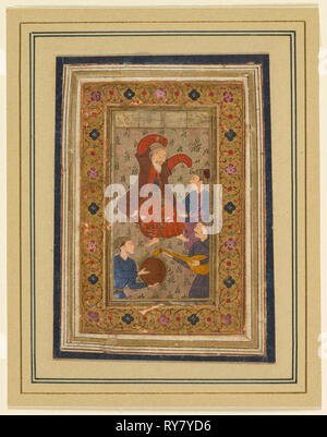 A dancing dervish and three musicians, from a Divan (Collected Poems) of Urfi (Persian, 1555–1591), 1637. India, Muhammadpur, Bijapur, Deccan, 17th century. Opaque watercolor with gold on paper, mounted with plain paper borders; page: 14.8 x 11.5 cm (5 13/16 x 4 1/2 in.); painting: 6.2 x 3.5 cm (2 7/16 x 1 3/8 in - Stock Photo