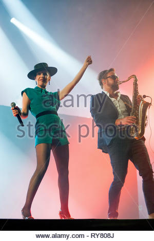 THE PAROV STELAR BAND performing live at Musilac summer festival, 10 july 2015 - Stock Photo