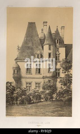 Architecture Pittoresque ou Monuments des XVeme. Et XVIeme. Siecles: Chateaux de France des XV et XVI Siecles: Pl. 49, Château De Lion (Calvados), 1860. Victor Petit (French, 1817-1874), Charles Boivin (publisher and editor); Lith de Godard a Paris (printer). Lithograph with tint stone, from portfolio of 100 lithographs with tint stone; sheet: 36 x 27.6 cm (14 3/16 x 10 7/8 in.); image: 23 x 14 cm (9 1/16 x 5 1/2 in - Stock Photo