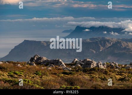 The Muizenberg Mountains, False Bay and Cape Peninsula from Table Mountain, Cape Town, Western Cape, South Africa - Stock Photo