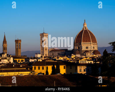 Cathedral of Santa Maria del Fiore, in Florence and its baptistery seen from afar