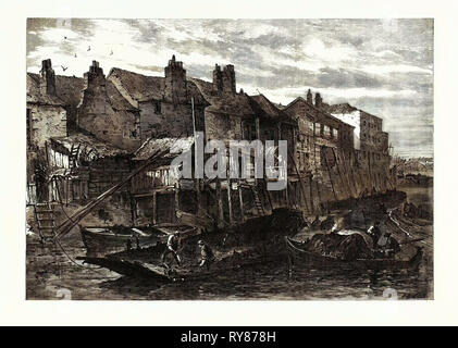 Old Houses at Lambeth Demolished for the Southern Embankment of the Thames London UK 1867 - Stock Photo