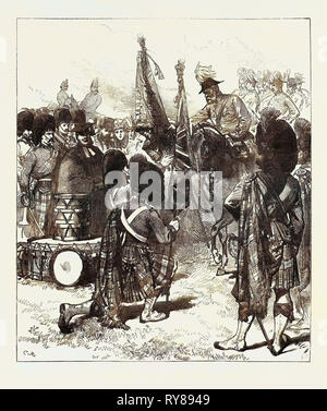 Presentation of New Colours to the 42nd Highlanders 1871 - Stock Photo