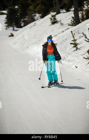Woman skiing on snow covered field in forest - Stock Photo