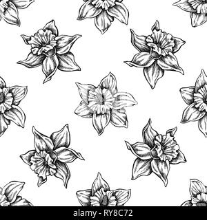 Seamless pattern with black and white daffodil - Stock Photo