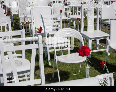 The 185 white chairs, or 185 chairs or 185 emty chairs, an art installation memorial to those who died in the 2011 Christchurch earthquake New Zealand - Stock Photo