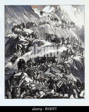 The Yarkund Mission: Mules and Baggage-Train Going Over the Grim (Sanjoo) Pass 1874 - Stock Photo
