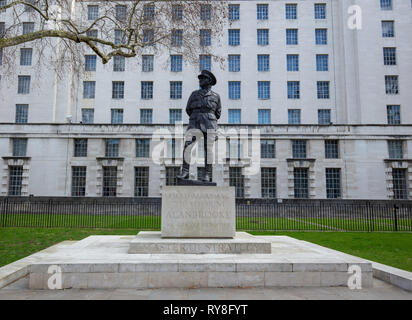 Statue of Field Marshall Viscount Alan Brooke on Raleigh Green, Whitehall, London, UK - Stock Photo