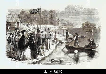 Pleasure Boats on the Ornamental Water in Regent's Park - Stock Photo