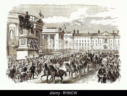 Visit of the Prince and Princess of Wales to Ireland: The Royal Procession Passing College Green Dublin 1868 - Stock Photo
