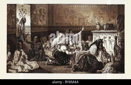 The last honours. Egypt, engraving 1879 - Stock Photo