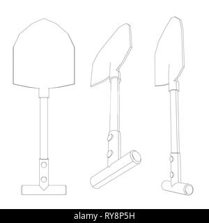 Set with spade outlines in different positions. Vector illustration - Stock Photo