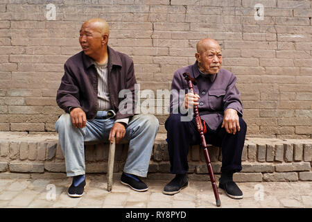 Local chinese people in PingYao, Shanxi, China - Stock Photo