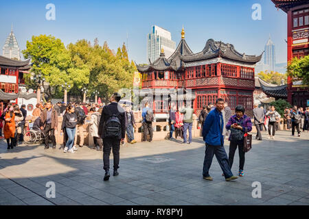 29 November 2018: Shanghai, China - Scene in the Old Town shopping area, a major visitor attraction. - Stock Photo
