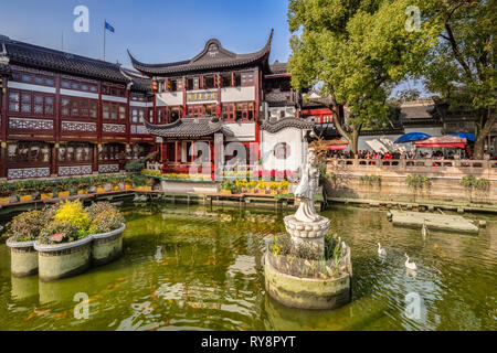 29 November 2018: Shanghai, China - Lake in the Yu Garden of the Old Town district, a major visitor attraction. - Stock Photo