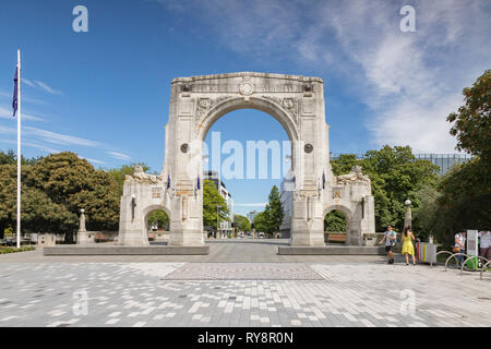 3 January 2019: Christchurch, New Zealand - The Bridge of Remembrance on Cashel Street in the centre of Christchurch. - Stock Photo