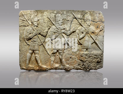 Picture & image of Hittite monumental relief sculpted orthostat stone panel from the Herald's Wall. Basalt, Karkamıs, (Kargamıs), Carchemish (Karkemis - Stock Photo