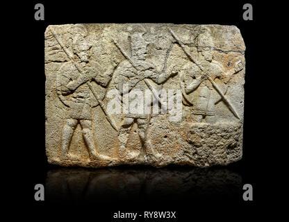 Hittite monumental relief sculpted orthostat stone panel from the Herald's Wall. Basalt, Karkamıs, (Kargamıs), Carchemish (Karkemish), 900-700 B.C. Mi - Stock Photo