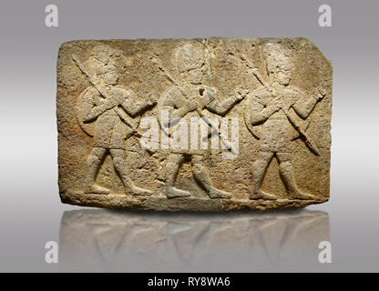 Picture & image of Hittite monumental relief sculpted orthostat stone panel of Herald's Wall Basalt, Karkamıs, (Kargamıs), Carchemish (Karkemish), 900 - Stock Photo