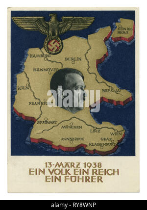 German historical postcard: A plebiscite on the question of the annexation of Austria,  'ein volk ein reich ein führer' 1938, Germany, Third Reich - Stock Photo