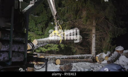 A pile of logs on the blue truck being transported by the yellow log grappler on a snowy night on winter - Stock Photo