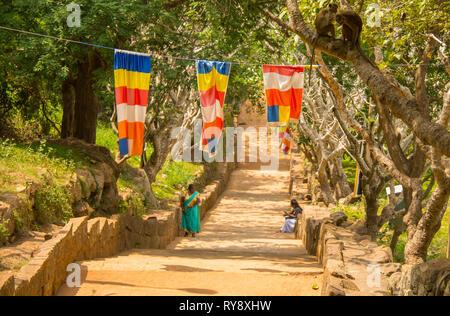 Asia, Sri Lanka, Mihintale, staircase buddhist monastery - Stock Photo