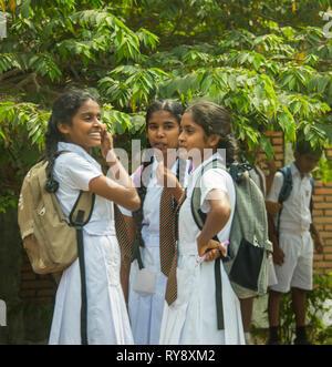 Asia, Sri Lanka, Mihintale, students - Stock Photo