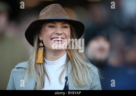 A racegoer watches a horse race during Champion Day of the 2019 Cheltenham Festival at Cheltenham Racecourse. - Stock Photo