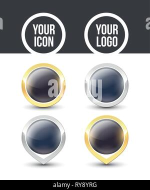 Black round buttons and pointers with metallic gold and silver border, empty to place your logo. Vector label icons isolated on white background. - Stock Photo