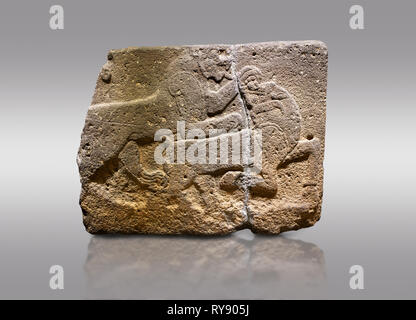 Picture & image of Hittite monumental relief sculpted orthostat stone panel of a Procession. Basalt, Karkamıs, (Kargamıs), Carchemish (Karkemish), 900 - Stock Photo