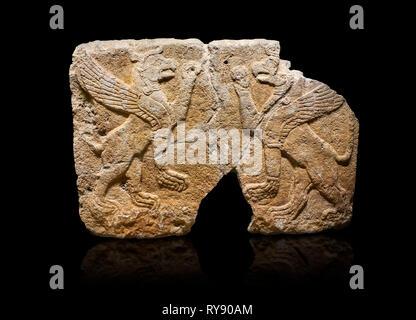 Hittite monumental relief sculpted orthostat stone panel Orthostats of a Procession. Limestone, Karkamıs, (Kargamıs), Carchemish (Karkemish), 900 700  - Stock Photo