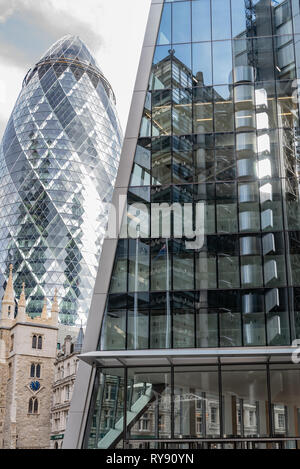 The 'Gherkin', 'Scalpel' and Lloyds Building in the City of London - Stock Photo