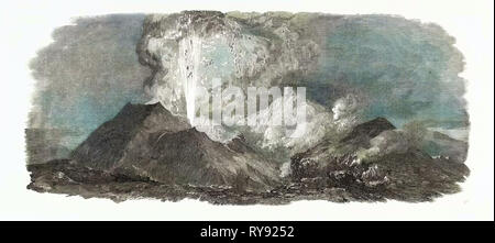 Etna in Eruption, 1852 - Stock Photo