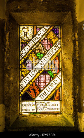 A dedication window in the porch of the church of St Mary the Virgin in Wotton under Edge Gloucestershire - Stock Photo