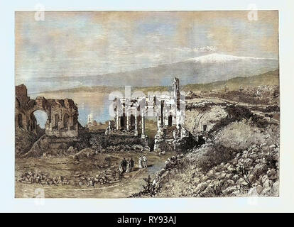 The Duke and Duchess of Connaught in Sicily: Ancient Greek Theatre at Taormina 1879 - Stock Photo