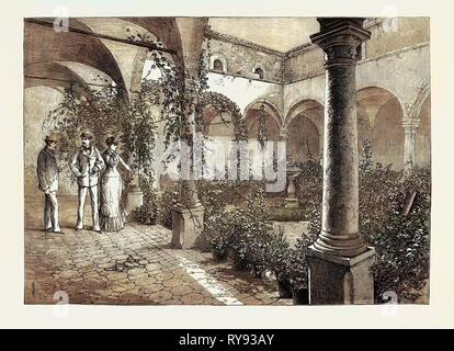 The Duke and Duchess of Connaught in Sicily: Quadrangle of the Castello Catarina at Taormina 1879 - Stock Photo
