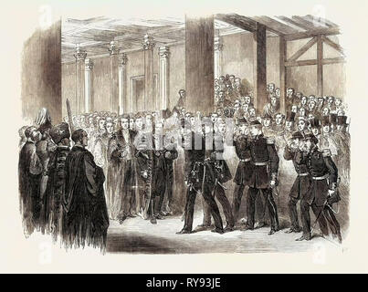 Reception of the Belgians by the Lord Mayor at Guildhall London UK 1867 - Stock Photo