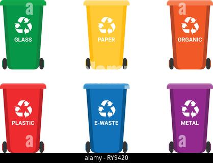 Colorful recycle trash bins isolated white, vector set. Big containers for recycling waste sorting - plastic, glass, metal, e-waste, organic, paper. - Stock Photo