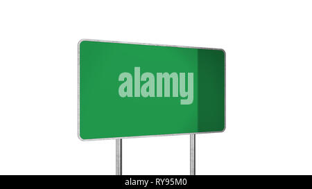 Road Sign in Green Color Isolated On White Background - Stock Photo