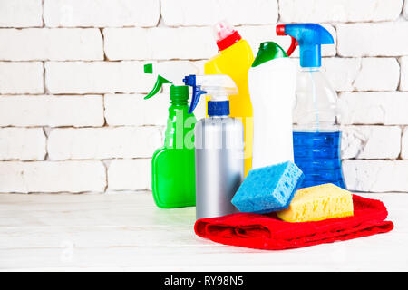 Cleaning product, household on white. - Stock Photo