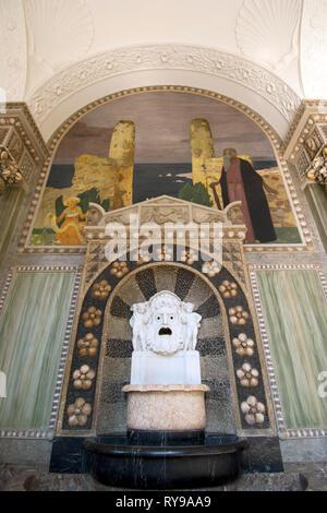 BRD, Hessen, Wiesbaden, der Muschelsaal im Kurhaus wurde mit naturalistischen, jugendstilartigen Fresken ausgestattet - Stock Photo