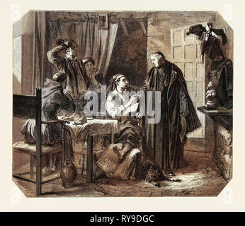 School Sardinia. The News of the Death of King Charles Albert, Engraving 1855 - Stock Photo