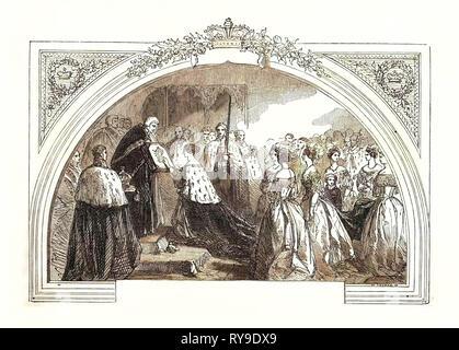 Coronation of Queen Victoria in Westminster Abbey, June 28, 1838, London, UK, Britain, British, Europe, United Kingdom, Great Britain, European - Stock Photo
