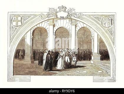 Opening of the Royal Exchange, October 28, 1844. London, UK, Britain, British, Europe, United Kingdom, Great Britain, European - Stock Photo