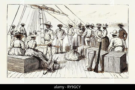 The Kanaka Labour Question in Queensland: Islanders Returning to Their Native Country after Having Served Their Time, Australia, 1892 Engraving - Stock Photo