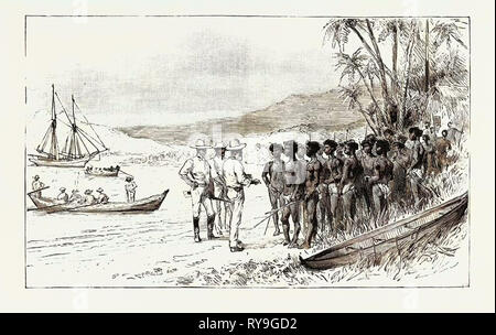 The Kanaka Labour Question in Queensland: Recruiting: Traders Persuading the Islanders to Embark for Queensland, Australia, 1892 Engraving - Stock Photo
