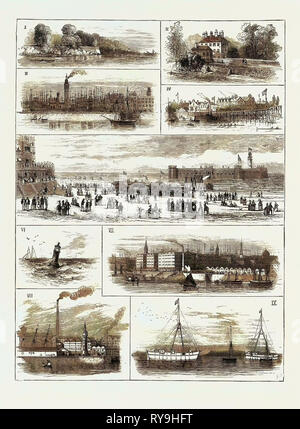 H.R.H. The Duke of Edinburgh at Liverpool, Jottings on the Mersey 1. Banks Near Eastham. 2. Eastham. 3. Birkenhead Warehouses and Water Tower (Hydraulic). 4. New Ferry. 5. New Brighton Sands, &C. 6. Bell Buoy, Mouth of the Mersey. 7. Albert Docks. 8. The Vauxhall Chimney (Chemical Works). 9. Powder Magazines, Tenders, and Beeston Hills - Stock Photo