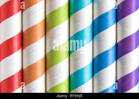Colorful striped drinking straws background abstract. Summer and beverage concept. - Stock Photo