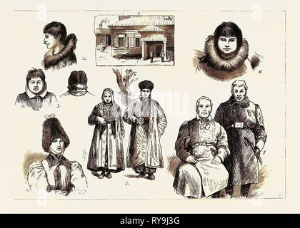 Life and Character in Western Siberia: 1. Governor's House, Jakutsk, Siberia, 2. Girl, St. Michael's, 3. Woman from Cape Stevens (Back and Front View), 4. Woman of Jakutsk, 5. Bashkeer Man and Wife, 6. Young Man, St. Michael's, 7. Wealthy Magnates of Jakutsk - Stock Photo